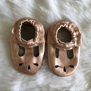Moccasins in Rose Gold T strap Style
